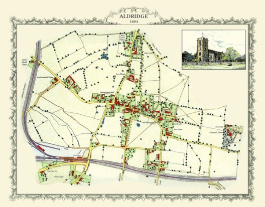 Aldridge Village map 1881 in Walsall west midlands uk