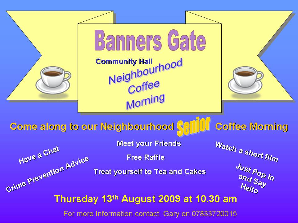 Coffee morning in Banners Gate, Streetly, Sutton Coldfield
