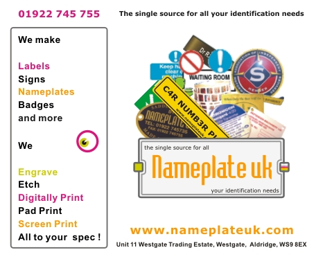 Nameplate Uk for all your signage needs, please click here