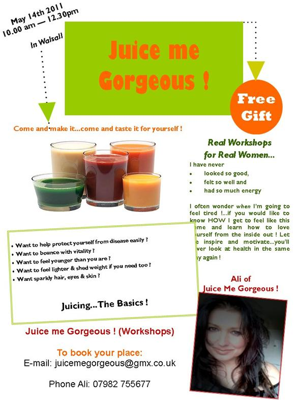 Juice me Gorgeous event in Walsall, come along and try making your own delicious fresh drinks