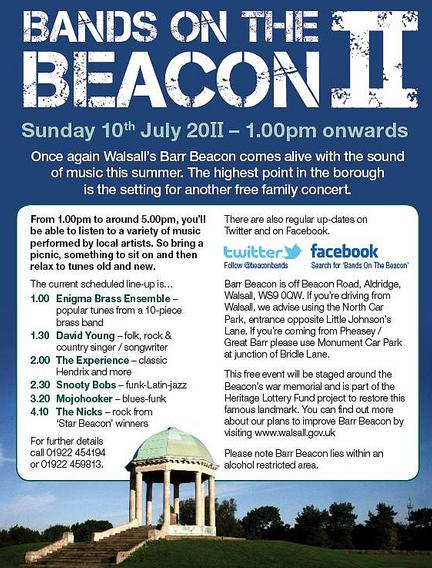 Sunday 10 July, Free event, Bands on the Beacon at Barr Beacon Park