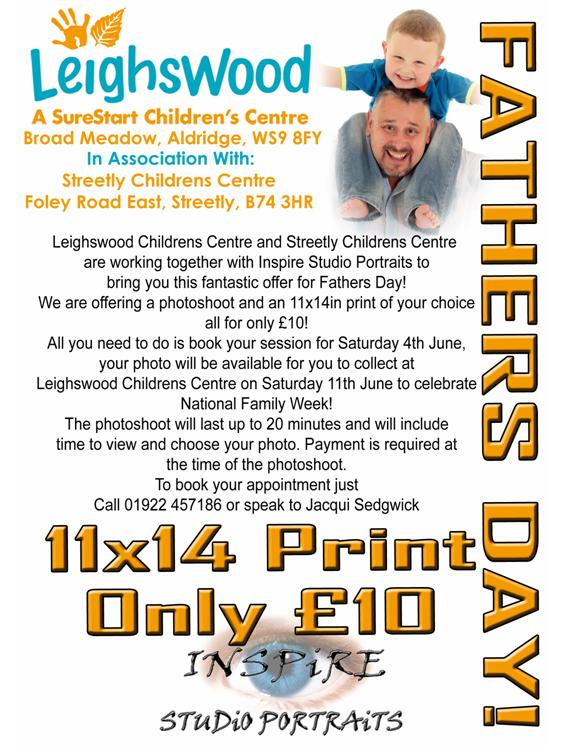 Special fathers day photograhy offer in Aldridge, Walsall