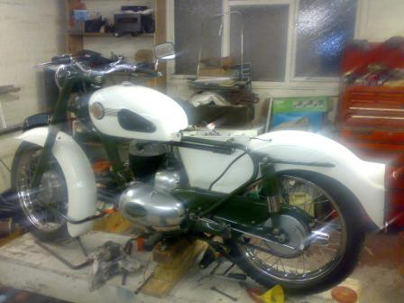 My Francis Barnett Cruiser 80 1959 250cc restoration in January 2008