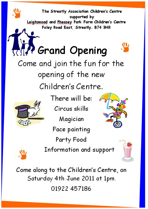 Grand Opening event for The Streetly Association Children's Centre