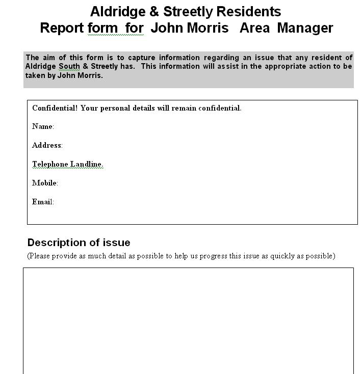 Report form for any issues or problems to be reported to John Morris