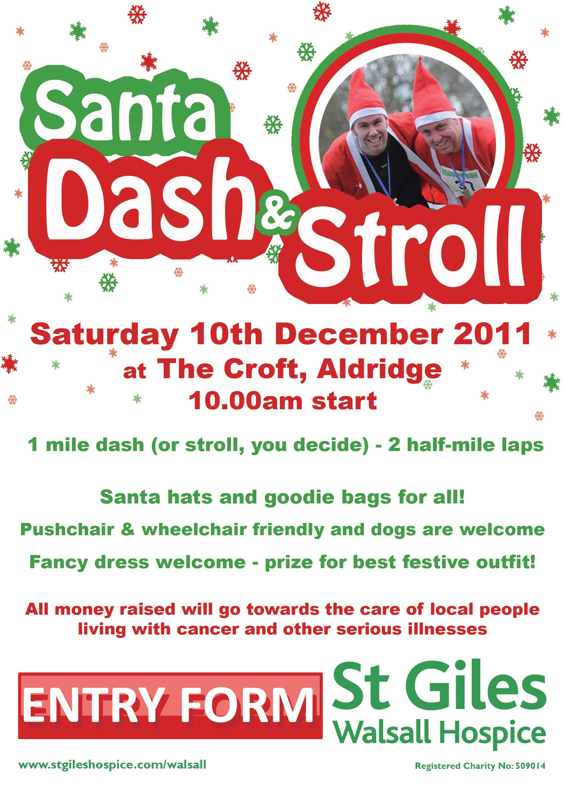 Santa Dash and Stroll being organised by St Giles Walsall Hospice as part of Aldridge Christmas Festivities on Saturday 10 December
