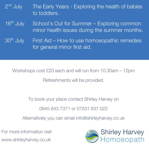 Shirley Harvey will be introducing us  to how we can use over the counter homoeopathic remedies to  treat various minor ailments at home in Aldridge Health Centre