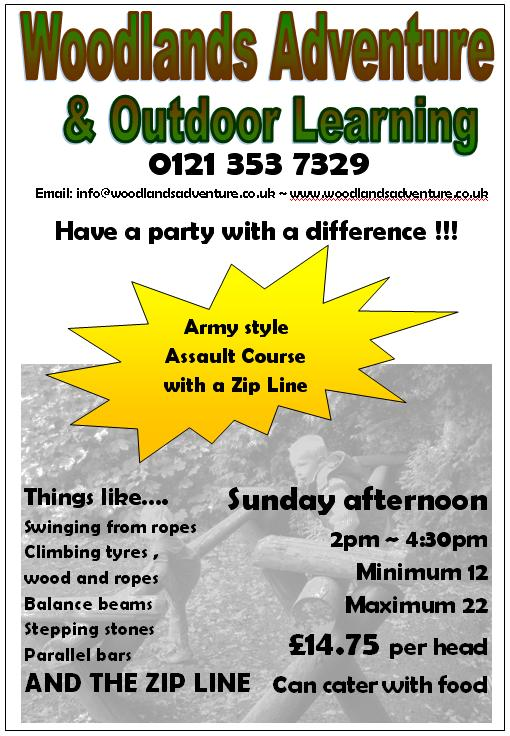 Sunday afternoons, Woodlands Adventure in Aldridge, walsall for your Birthday Party, special occasion, or just good dirty fun !
