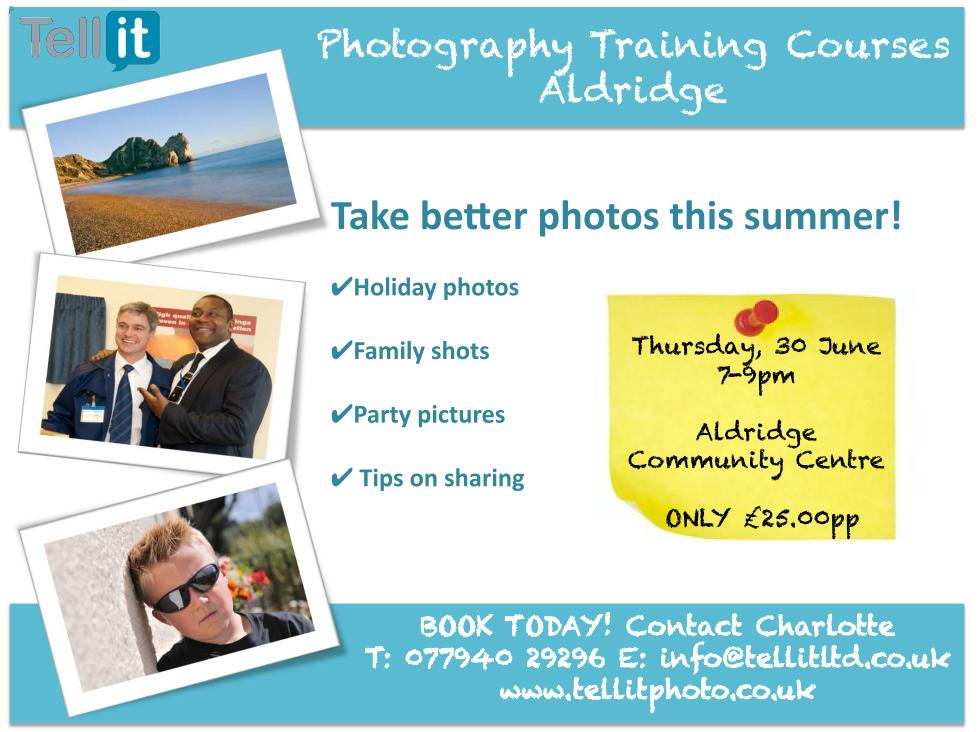 30 June excellent photography class in Aldridge Community Centre